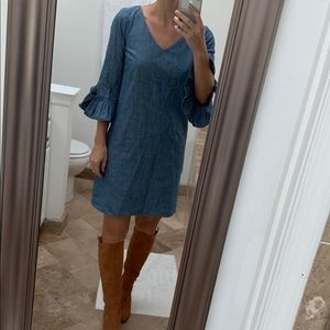 NWT J. Crew Chambray Quarter Sleeve Dress